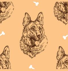 seamless pattern hand drawing german shepherd vector image vector image