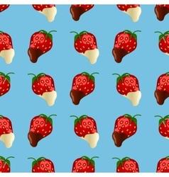strawberries in dark and white chocolate Seamless vector image