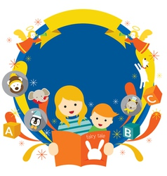 Teacher or Mother Reading Fairy Tale for Son vector image