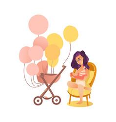 mom feeding newborn baby and pram with balloons vector image vector image