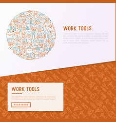 work tools concept in circle vector image