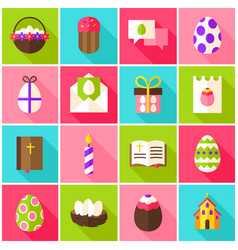 easter holiday colorful icons vector image