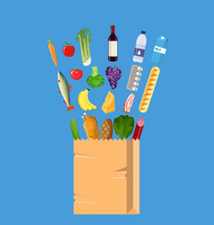 fresh healthy produce and paper shopping bag vector image