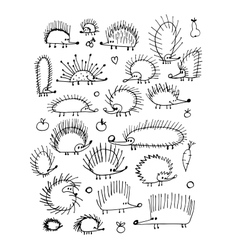 Funny hedgehog collection sketch for your design vector image vector image