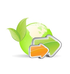 green globe with arrow and eco-friendly concept vector image vector image
