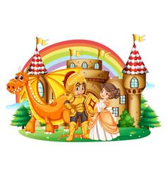 knight and princess at the palace vector image