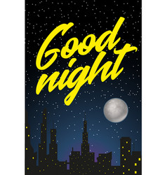 night city with starry sky fool moon and vector image vector image