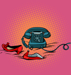 retro phone and womens red shoes vector image vector image