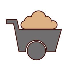 Wheel barrow tool isolated icon vector