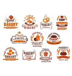 Bakery pastry and cake shop symbols retro style vector image