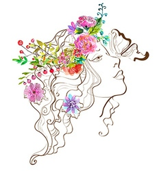 Beautiful woman with butterfly and flowersdoodle w vector image vector image