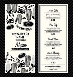 Black and White Restaurant Menu Design Template vector image vector image