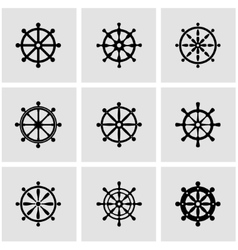 black rudder icon set vector image