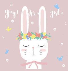cute white bunny on baby shower card invitation vector image