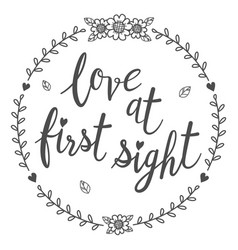 love at first sight calligraphy isolated qoutes vector image
