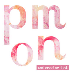 pink spring watercolor font letters m n o p vector image vector image