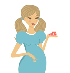Pregnant woman holding shoe vector image