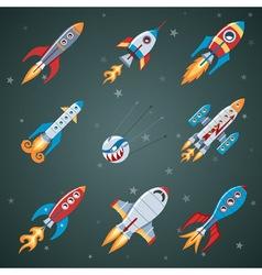 Rockets Flat Icon Set vector image vector image