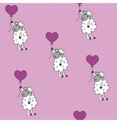 Seamless pattern sheep with heart baloon colored vector image