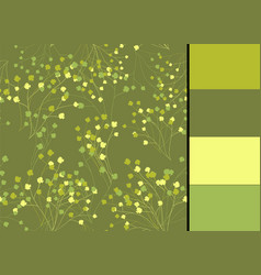seamless pattern with greenery floral vector image vector image