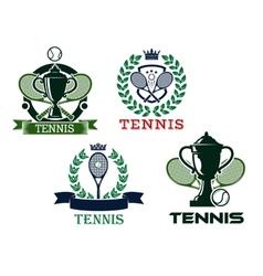 Set of tennis emblems or badges vector image vector image