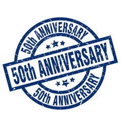 50th anniversary blue round grunge stamp vector image