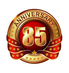85 anniversary golden label with ribbon vector