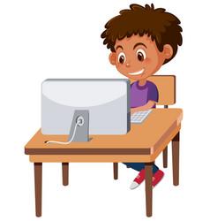 A boy using computer vector