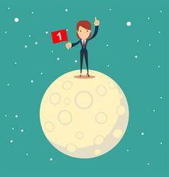 astronaut girl moon landing a businesswoman vector image