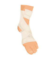 Bandaged foot medical icon injury and aid symbol vector