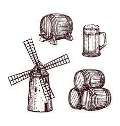 beer barrel glass and windmill sketch set vector image