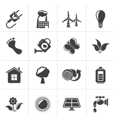 Black Green Ecology and environment icons vector image