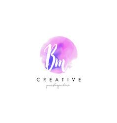 bm watercolor letter logo design with purple vector image