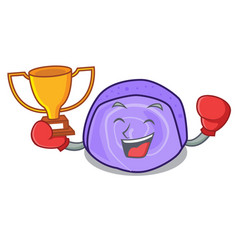 boxing winner blueberry roll cake mascot cartoon vector image