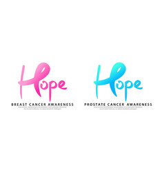 breast and prostate cancer awareness ribbon with vector image