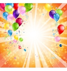 Bright holiday background with balloons vector