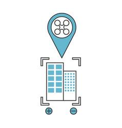 Buildings cityscape scene with pin location vector