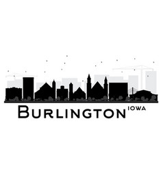 Burlington iowa skyline black and white silhouette vector