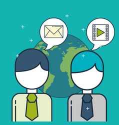 business people and speech bubble email video vector image