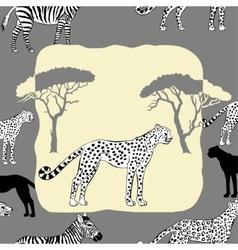 Cheetah between savannah trees vector