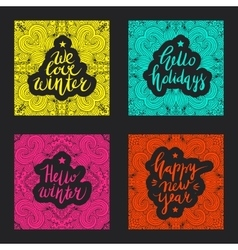 Christmas and New Year card design elements vector image