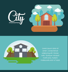 City and houses design vector