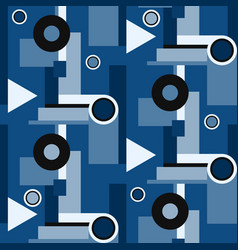 Classic blue geometric bauhaus shapes vector