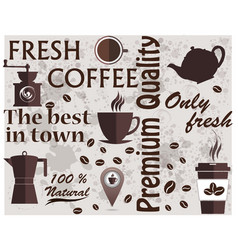 Coffee shop logo coffee elements texture food vector