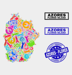 Collage service flores island azores map and vector