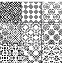 collection of black and white seamless patterns vector image