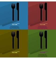 Color set cutlery knife fork Flat modern web vector image