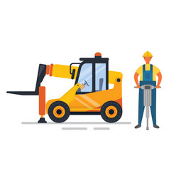 Construction equipment drill and forklift vector