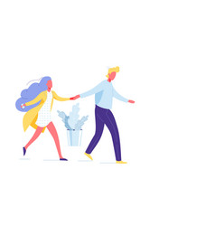Couple hold hands go together background vector