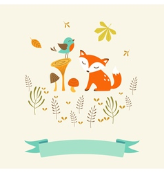 Cute autumn card vector image